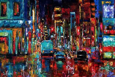 "Abstract Cityscape Palette Knife Oil Painting ""Party of Lights"" by Texas Artist Debra Hurd"
