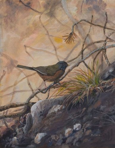 "Wildlife Bird Art Painting ""Little Brown Bird"" by Colorado Artist Nancee Jean Busse, Painter of the American West"