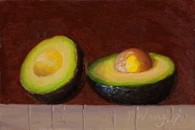 Avocado half daily painting a day small still life food painting
