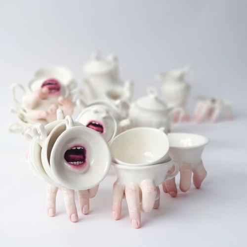 Parted Ceramic Mouths and Clenched Hands Enliven Tea Sets by Ronit Baranga