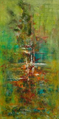 """Tall Mixed Media Abstract Painting """"Beyond The Grid"""" by Santa Fe Contemporary Artist Sandra Duran Wilson"""