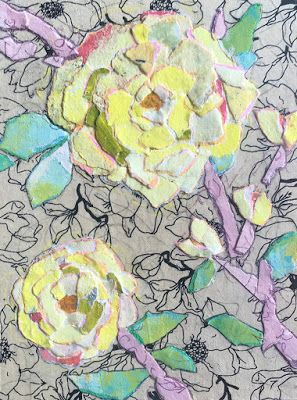 """Floral Art, Flower Painting,Textural Collage, Mixed Media """"PAPER ROSE"""