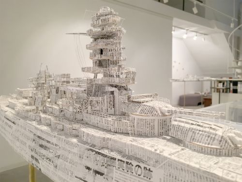 Intricate Battleships by Atsushi Adachi are Constructed from Vintage Newspaper