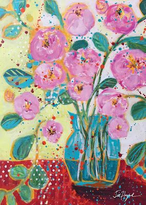 """Expressive Still Live Floral Painting, Colorful Original Flower Art, """"Peony Party"""" by Texas Contemporary Artist Jill Haglund, online art courses"""
