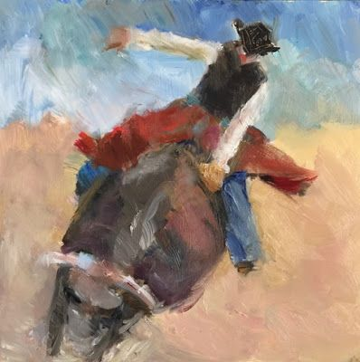 Bullrider - figurative oil rodeo painting