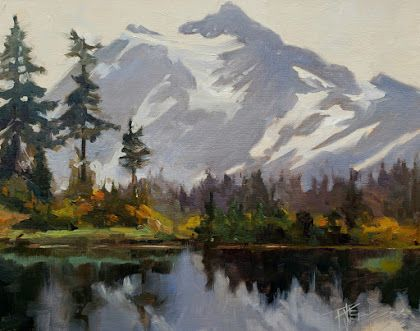 """""""Mount Shuksan from Picture Lake"""" plein air landscape painting by Robin Weiss"""