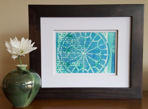 Mandala in Blues & Green Hand Print Acrylics by Denise Bossarte