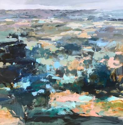 """Contemporary Abstract Landscape Art Painting, Fine Art For Sale """"PRAIRIE FROM HERE TO THERE"""" by Intuitive Artist Joan Fullerton"""