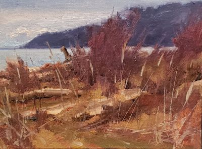 """Point no Point Headland"" plein air landscape painting by Robin Weiss"