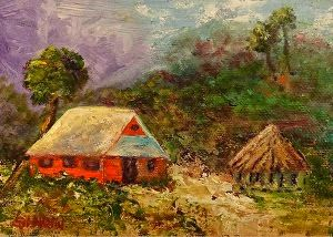 "Original Florida Coastal Landscape Red Cottage Painting ""Off the Beaten Path"" by Florida Impressionism Artist Annie St Martin"
