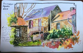 Journal Entry..France..Watercolor..Texas Artist..Rae Andrews