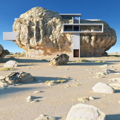 Amey Kandalgaonkar Explores the Architectural Possibilities of Combining Desert Rocks and Geometric Forms