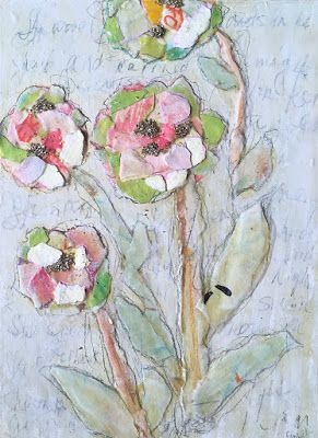 """Floral Art, Flower Painting,Textural Collage, Mixed Media """"PAPER POETRY"""