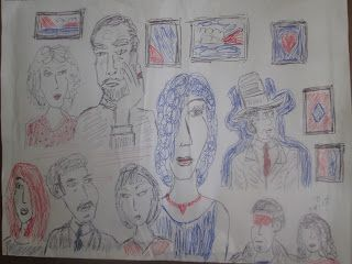 People & Paintings - Red, Black & Blue Pens