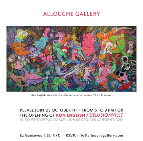 "Preview: Ron English's Solo Show ""Delusionville"" at Allouche Gallery, NYC 10/11/18"
