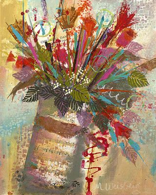 """Contemporary Mixed Media Abstract Flower Art Painting """"Spring Bouquet"""" by Illinois Artist Marilyn Weisberg"""