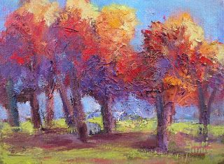 Golden Light on Trees, New Contemporary Landscape Painting by Sheri Jones
