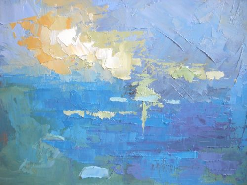 "Abstract Seascape | Daily Painting | ""Tropical Blues"" by Carol Schiff 