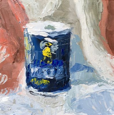 Still life painting of a Morton Salt package, 6x6