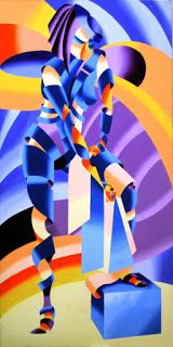 Mark Webster - Shandra 323 - Abstract Geometric Figurative Oil Painting