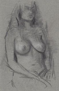 Seated female nude model drawn from life