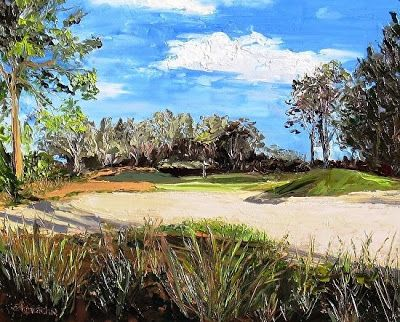 "Original Florida Landscape, Coastal Landscape Painting ""A Peaceful Day's Work"" by Florida Impressionism Artist Annie St Martin"