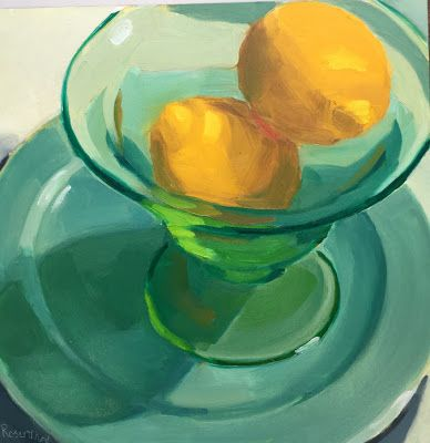 Lemons in Green Vaseline Bowl on Teal Plate