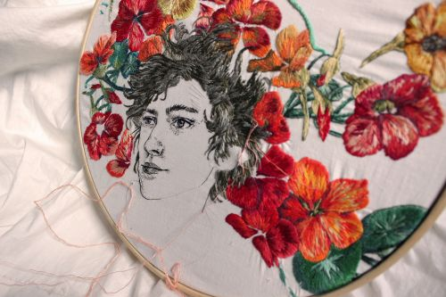 Textural Geometric Patterns Are Paired with Delicately Rendered Portraits in Embroideries by Sol Kesseler