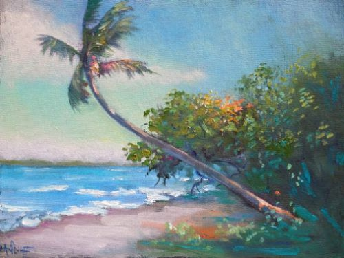 Florida Landscape Palm Tree Painting, Small Oil Painting, Tropical Wall Decor, Daily Painting