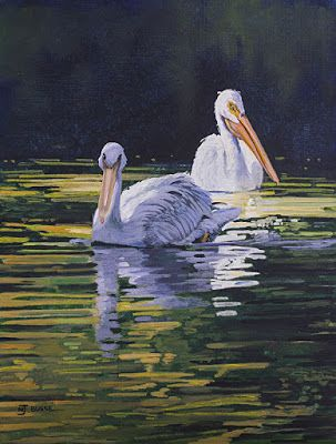 "Wildlife Painting,Pelicans, Snake River ""Pelican Pair at Oxbow Bend"" by Colorado Artist Nancee Jean Busse, Painter of the American West"