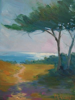 Ocracoke Island Oil Painting, Small Oil Painting, Daily Painting, Cedar Tree Painting, 6x8