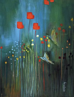 "Environmental Fine Art Painting, Butterflies ""Fields of Green"" International Abstract Realism Artist Arrachme"