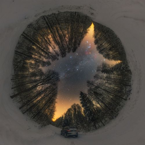 A Stellar Panorama Frames the Milky Way and Other Celestial Bodies Through a Snowy Forest in Poland