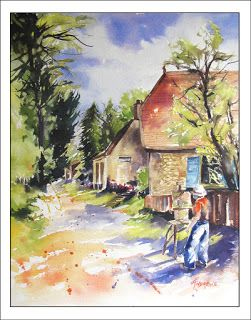 An Artist's Retreat, Frayssinet.Watercolor..Texas Artist..Rae Andrews