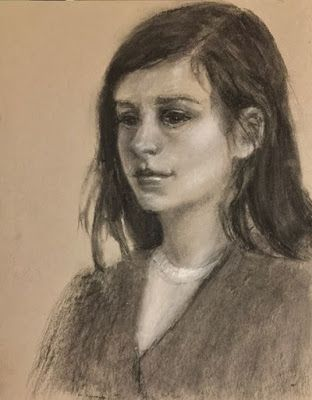 The Student - original charcoal portrait drawing