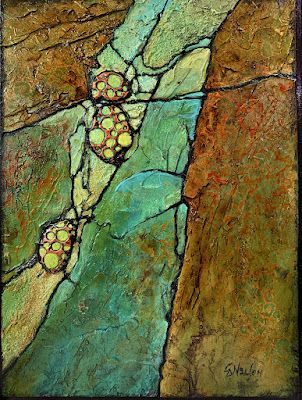 """Mixed Media Geologic Abstract Painting, """"ALIEN FORMS, 050921"""" by Carol Nelson Fine Art"""