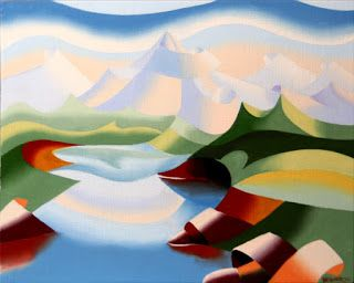 Mark Webster - Abstract Geometric Mountain Lake Landscape Oil Painting