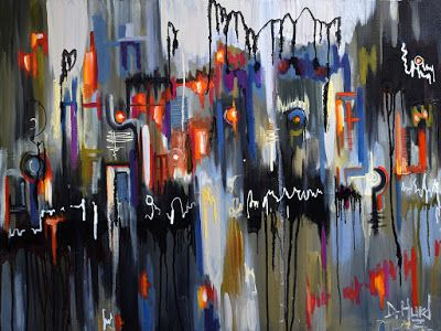 """Abstract Art Cityscape Paintings Street Painting Lights Reflection """"Urban Impressions"""" by Texas Artist Debra Hurd"""