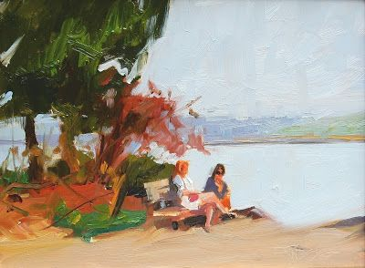 """Friends"" Paint the Peninsula, plein air painting by Robin Weiss"