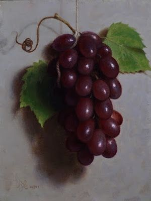 """""""Red Grapes"""" Oil on linen board 8x6"""