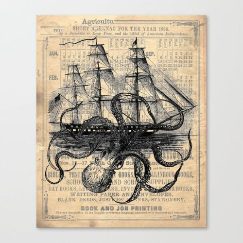 Artwork by Paper Rescue DesignsOctopus Kraken Ship |  Lemon