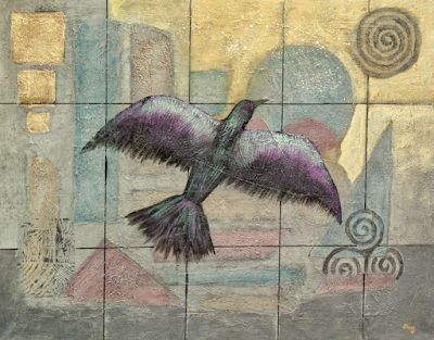 "Original Contemporary Geometric Abstract BIRD,Raven Painting ""Raven Rising"" by Contemporary Arizona Artist Pat Stacy"
