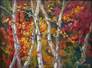 """""""Autumn Concerto III"""" Palette Knife Painting by Contemporary Impressionist Niki Gulley"""