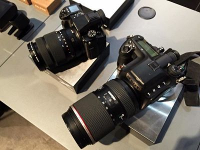 Side-by-Side Photo of the Fuji GFX and Pentax 645z Shows Size Difference