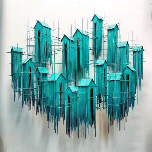 Mimicking Architectural Sketches, Artist David Moreno Forms Sculptures of Countless Metal Strips