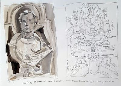 Gouache Sketch and Contour Line Drawing of Museum of Man