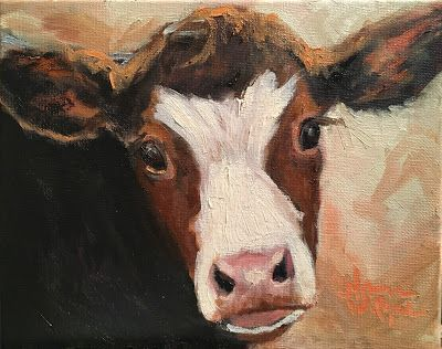 Norma Wilson Original Oil Cow Calf Bovine Farm Animals Painting Art