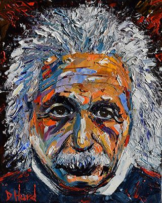 "Oil Painting Portrait Art Painting of Albert Einstein ""Einstein"" by Texas Artist Debra Hurd"