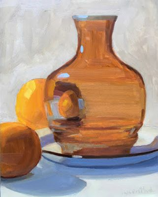 Amber Vase and Two Oranges