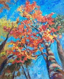 "New ""Aspiring Dreams"" Fall Foliage Treetops by Contemporary Impressionist Niki Gulley"